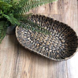Other - Small Rattan Dark Wicker Oval Basket Sea Grass